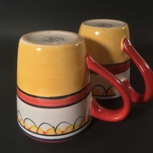 Pier 1 Del Sol yellow red coffee hand painted mugs
